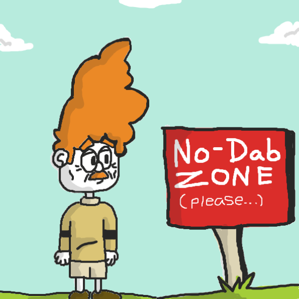 "Frank meets a ""No-Dab Zone"". What wonders await him ahead? - Online Drawing Game Comic Strip Panel"