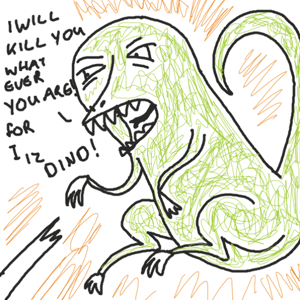 Dino attack - Online Drawing Game Comic Strip Panel by joshyouart