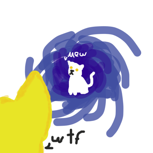 it's the gold-eye cat from the nt_partlycloudy comic - Online Drawing Game Comic Strip Panel by Meow the Fronk