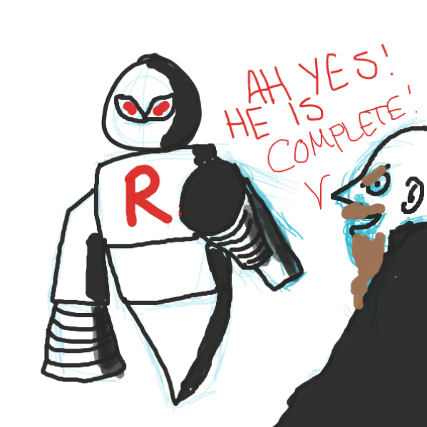 An evil robot? oh boy - Online Drawing Game Comic Strip Panel by Leigh
