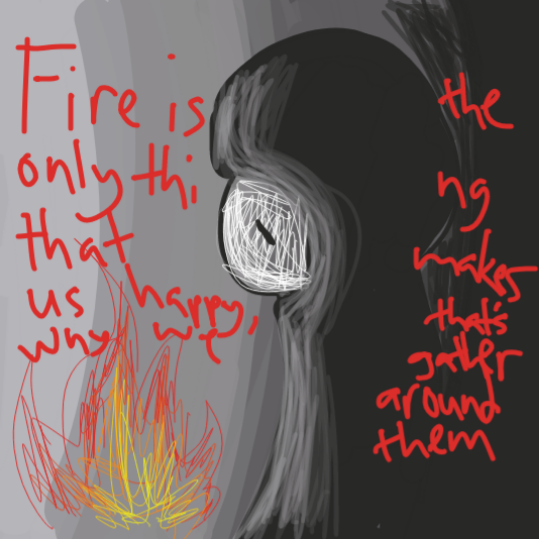 The lonely man claims that fire is the only thing that makes him happy. - Online Drawing Game Comic Strip Panel by ThatOneDude
