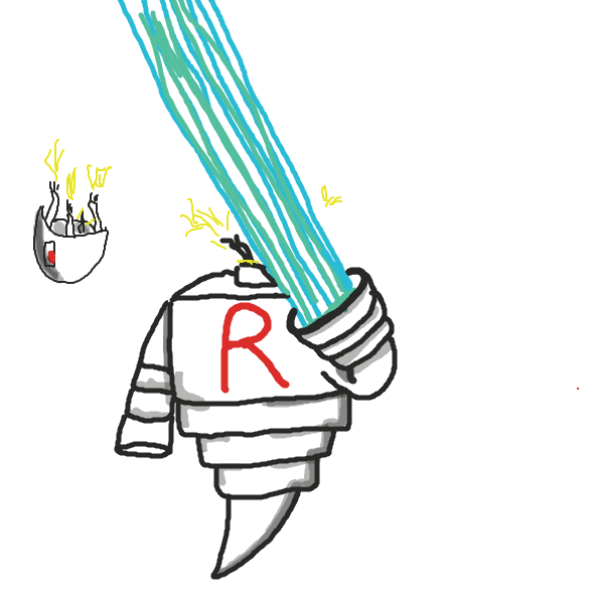 Evil robot ends it all... - Online Drawing Game Comic Strip Panel by joshyouart