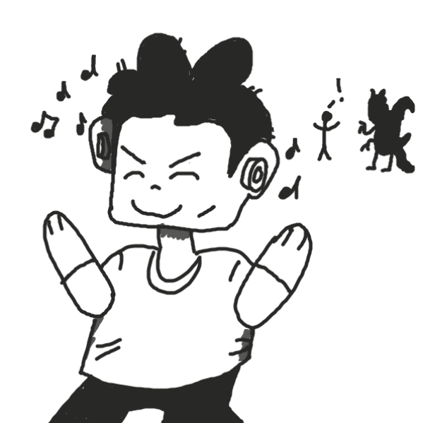 This person is just dancing while a monster is trying to kill the guy in the back - Online Drawing Game Comic Strip Panel by Art.frankie