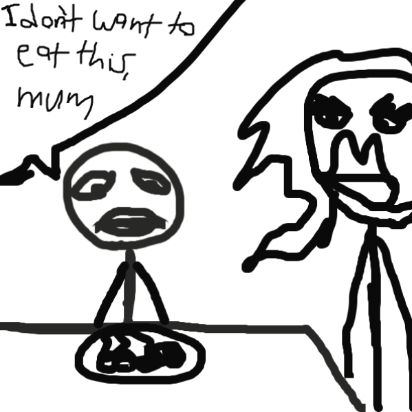 I don't want to eat this, mum - Online Drawing Game Comic Strip Panel