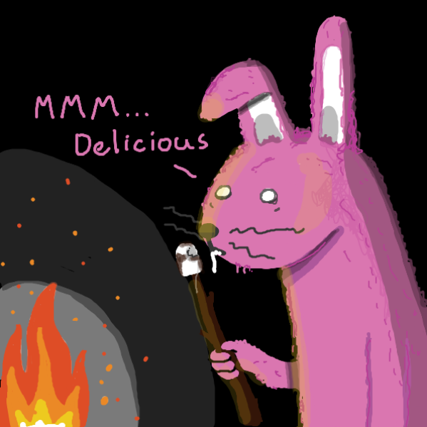 The rabbit enjoys the marshmallow. - Online Drawing Game Comic Strip Panel by joshyouart