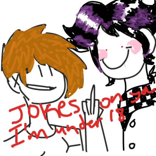 Jokes on you. She's under 18. *flips you off*  - Online Drawing Game Comic Strip Panel by ThatOneDude