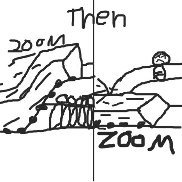 they dont get the brakes in time and 2 trains come - Online Drawing Game Comic Strip Panel by Duncan