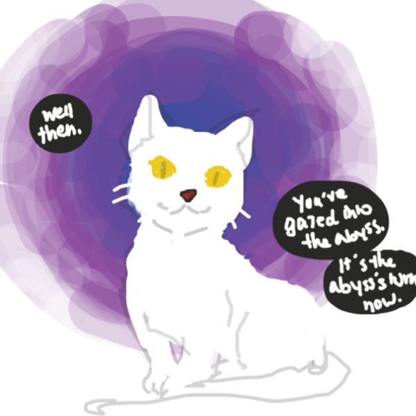 Drawing in Meowsy the Gold-Eyed Cat by crown