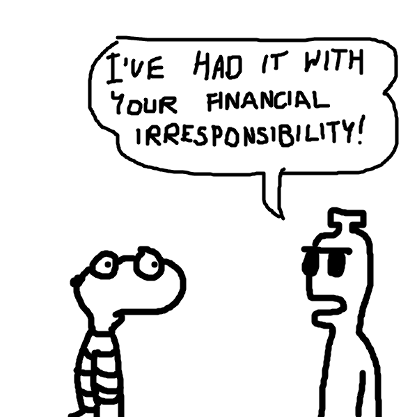 First panel in Financial Irresponsibility drawn in our free online drawing game