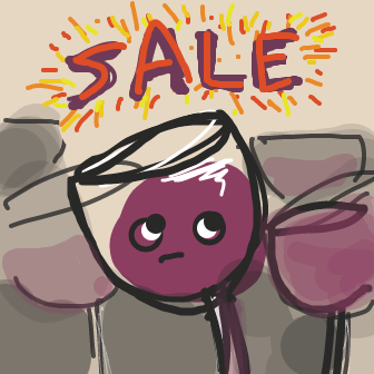 There's a sale at WineLand Ltd. Wine-o is worried. - Online Drawing Game Comic Strip Panel by jamdaddy