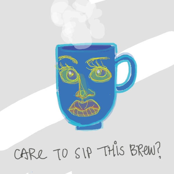 Drawing in Cup With A Face by cazzy
