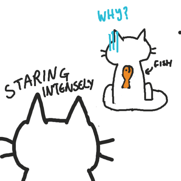 Cat doesnt realise there is fish on its back... - Online Drawing Game Comic Strip Panel by joshyouart