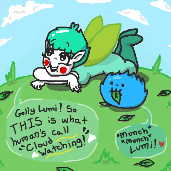 Fairie & Lumi try an old human past-time... Cloud watching!  - Online Drawing Game Comic Strip Panel by xavvypls