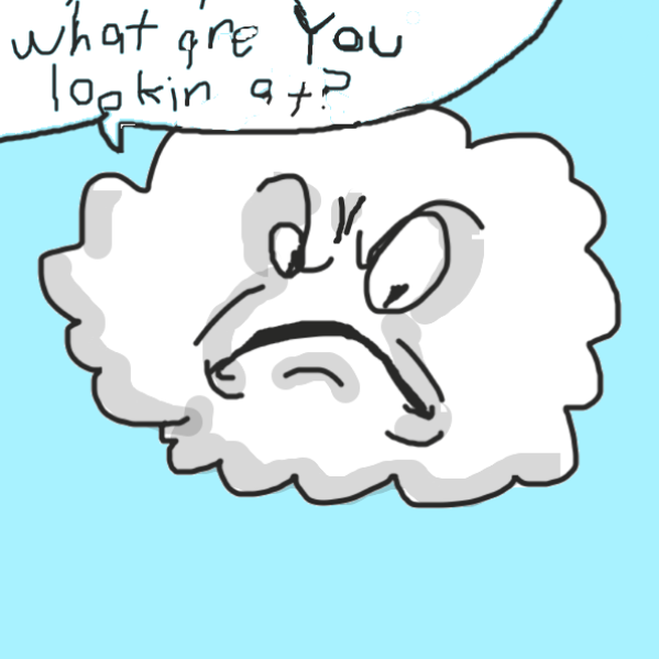 This cloud doesn't like being watched - Online Drawing Game Comic Strip Panel by Uugh