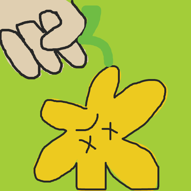 Oh no! Yellow flower has been Taken by The Hand - Online Drawing Game Comic Strip Panel by spacewabbit