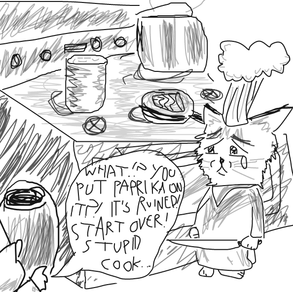 No, cat wasn't prepared :( - Online Drawing Game Comic Strip Panel by Yntec