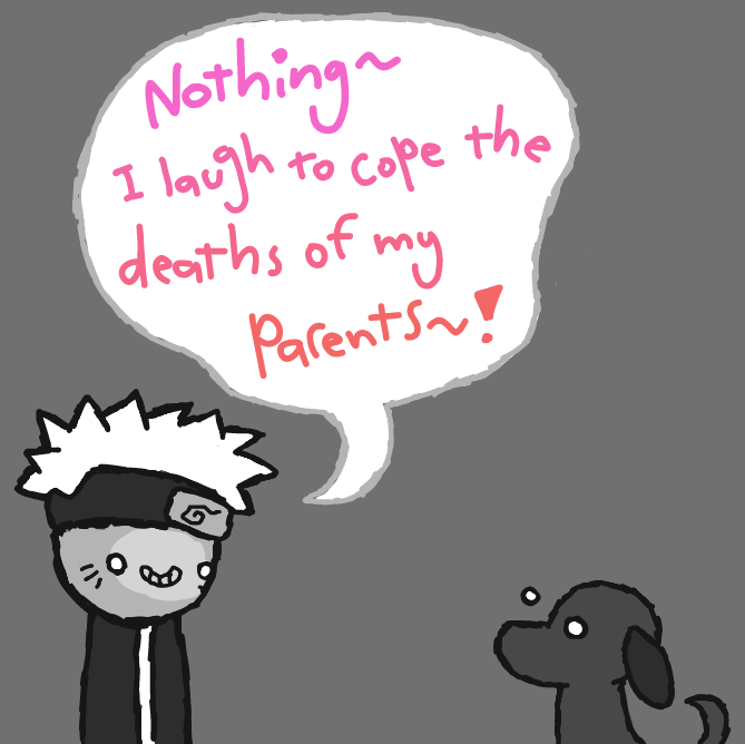 Naruto share's his inner demons with the dog.