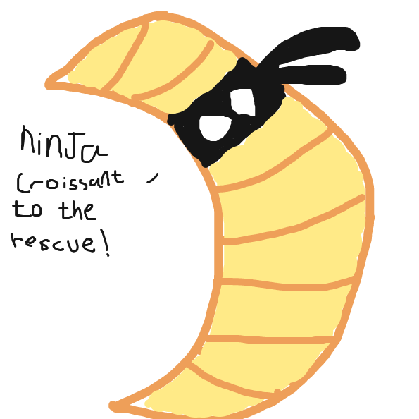 Ninja croissant joins the fight - Online Drawing Game Comic Strip Panel