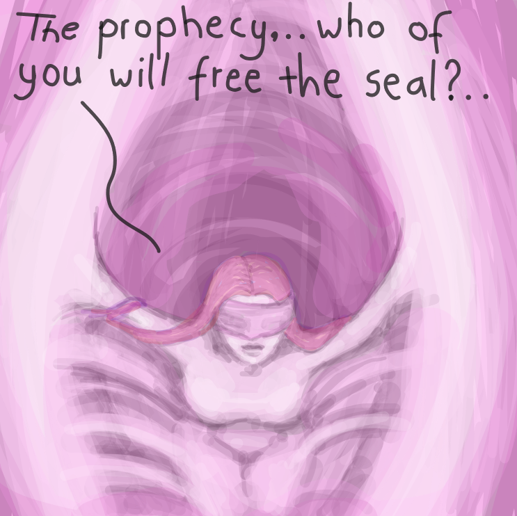 The Gatekeeper means no harm it seems.. who will fill the prophesy? - Online Drawing Game Comic Strip Panel by Delete