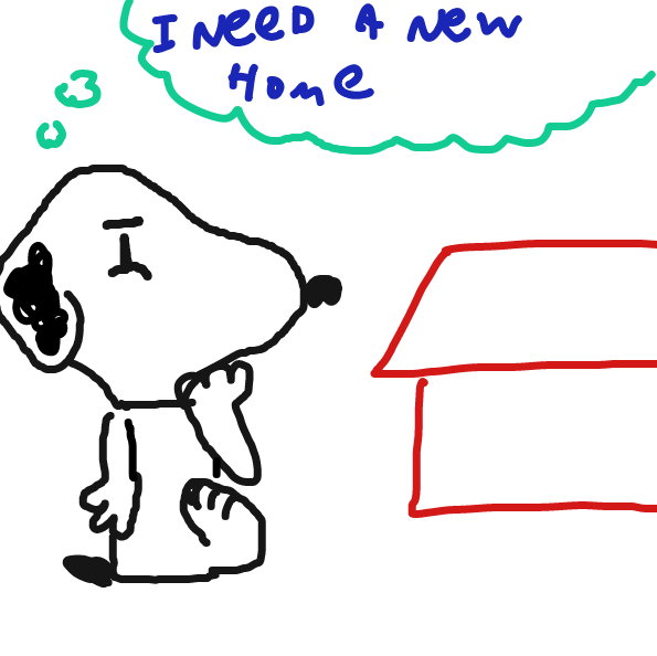 snoopy think he needs a new home - Online Drawing Game Comic Strip Panel