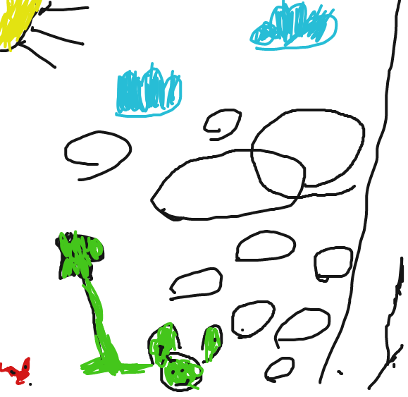 allowed my lil brother to draw a frog. I dont even know wich one of those scribbles is a frog - Online Drawing Game Comic Strip Panel