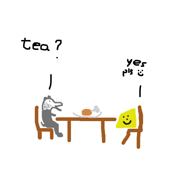 cheese and mouse eat together - Online Drawing Game Comic Strip Panel