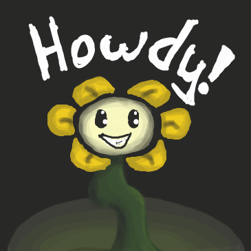 First panel in Flowey the flower drawn in our free online drawing game