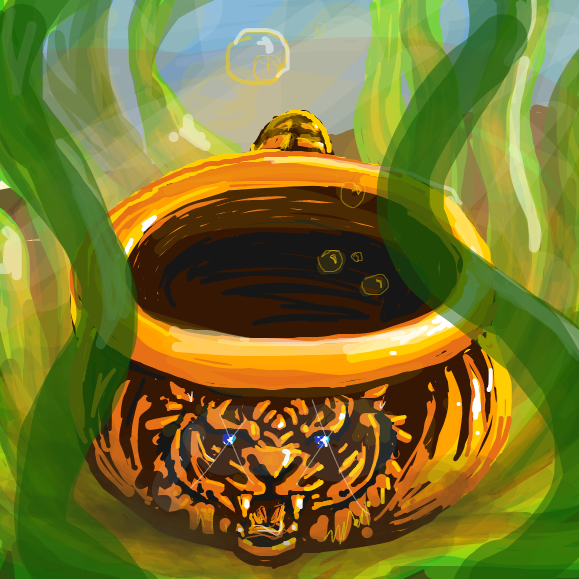 Golden chamber pot with tiger decor - Online Drawing Game Comic Strip Panel