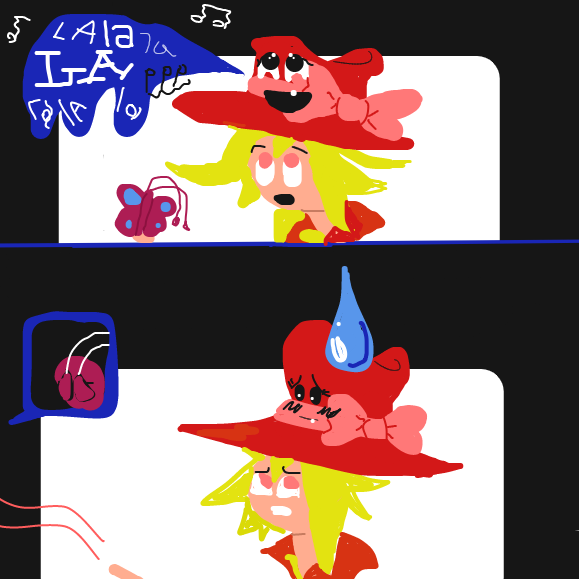 Don't you hate when your hat suddenly comes to life, and it starts singing? And it sings really bad? So awkward... - Online Drawing Game Comic Strip Panel by Yntec