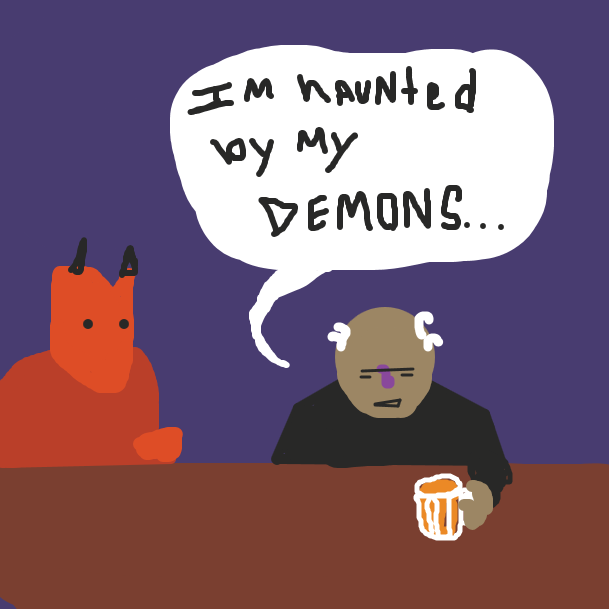 """I'm haunted by my DEMONS..."" the old man says, sitting at the bar next to a devilish looking figure. - Online Drawing Game Comic Strip Panel by jamdaddy"