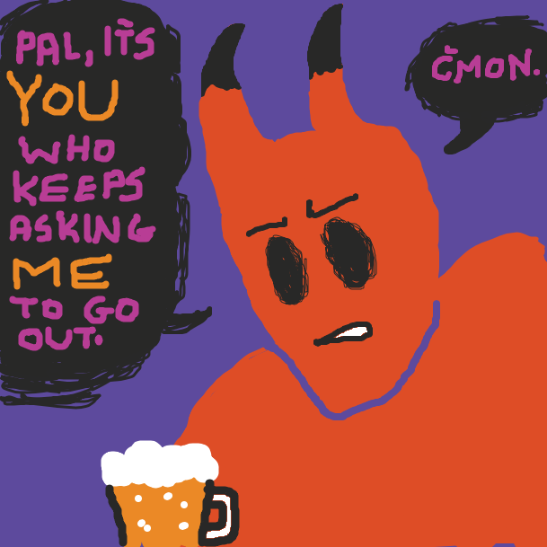 "The demon is annoyed that his drinking buddy, Old Man At The Bar, described their friendship as a ""haunting"". - Online Drawing Game Comic Strip Panel by KJ"