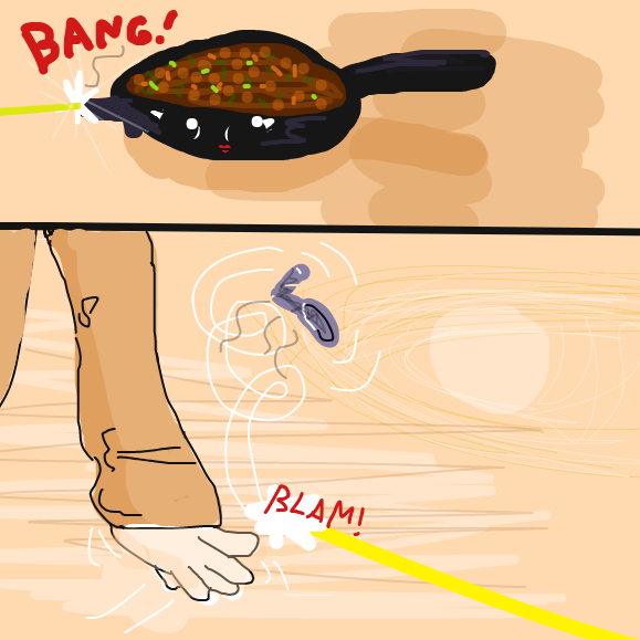 Don't bring a spoon to a gun fight. - Online Drawing Game Comic Strip Panel by Yntec