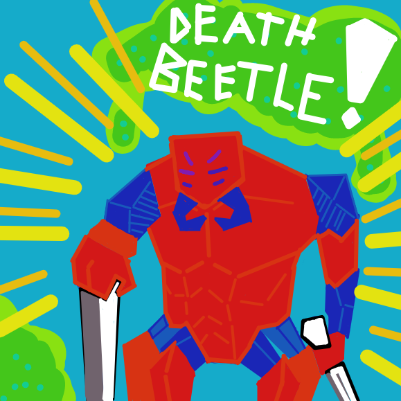 As the blue beetle travels though the mass of blood and gore, it meets a giant. One the stands above all over beetles. A exchange of power is about to begin. - Online Drawing Game Comic Strip Panel