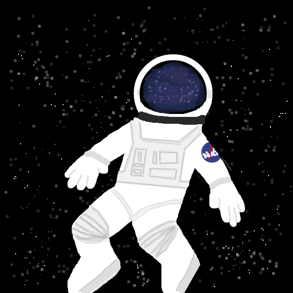 Cool astronaut guy floats through space. - Online Drawing Game Comic Strip Panel by emmeanais