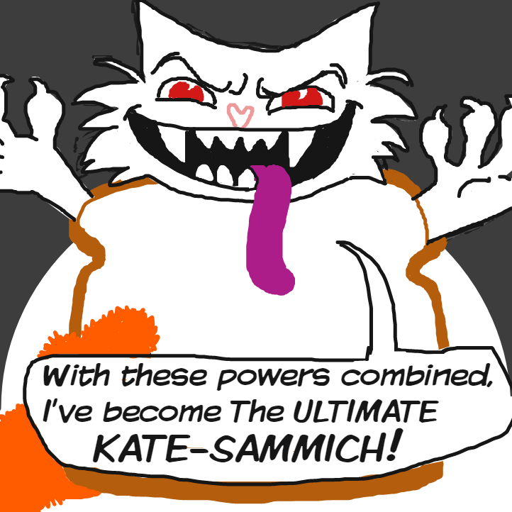 OH NO who could defeat the evil Ultimate Kate-sammich? Our hero has fallen unconsious - Online Drawing Game Comic Strip Panel by Delete
