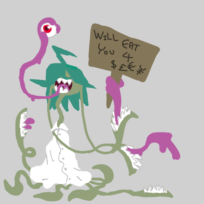 Thing with 8 tentacles, 8+1 mouths with tongue-hands & 1 disconnected eye has a great deal 4 U !!1! - Online Drawing Game Comic Strip Panel by Jyke The Person