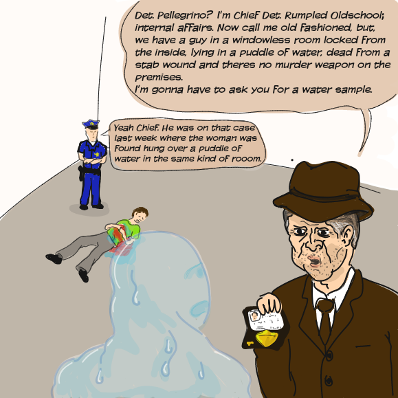 Lateral thinking riddle presented with a unique set of charachters. I dont know if this is the punchline or the entire story. It might take a while to get accustomed to backwards jams. - Online Drawing Game Comic Strip Panel by WizardCroissant
