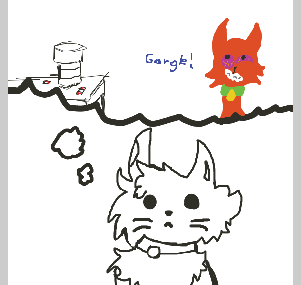 The cat is planning to poison his rival with pills. - Online Drawing Game Comic Strip Panel by LizardPie34