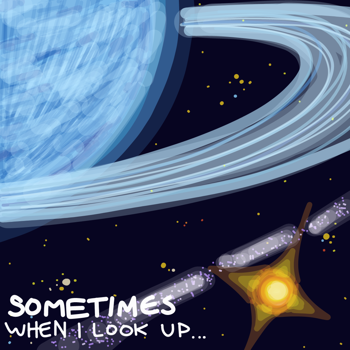 looking up into the sky - Online Drawing Game Comic Strip Panel by Plutomics
