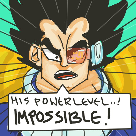 draw someone with big power level energy (big dick energy basically)