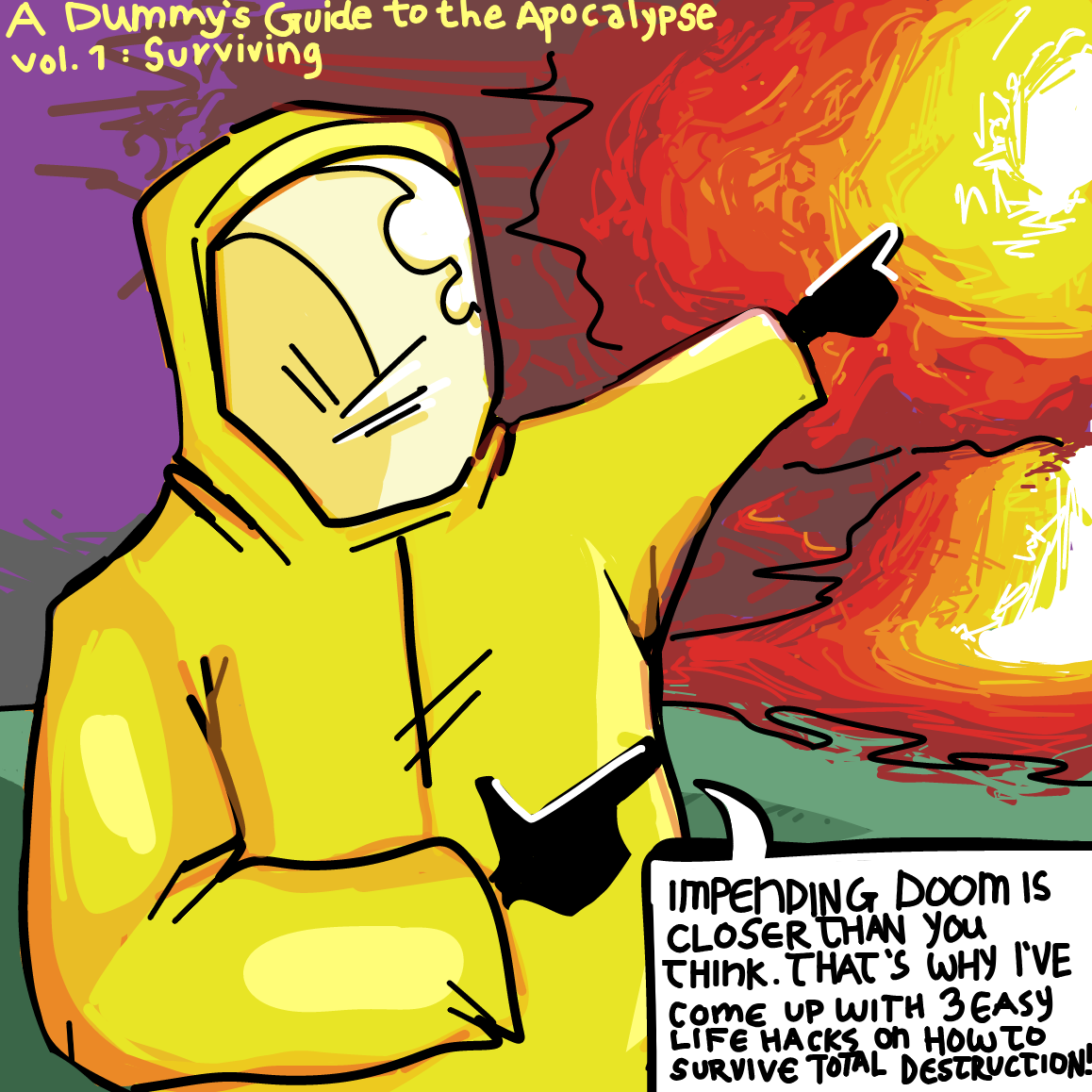 Drawing in 3 easy tips to surviving a nuclear holocaust by The Burned Man