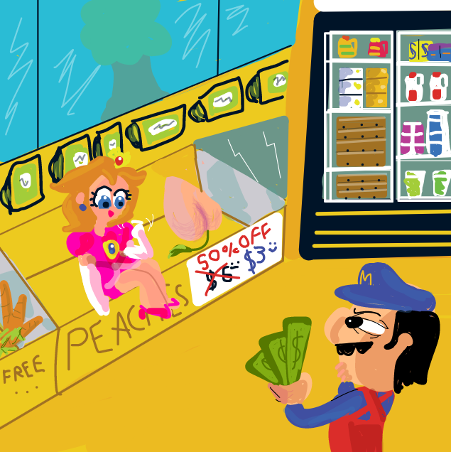Drawing in Mario goes to the store by Yntec