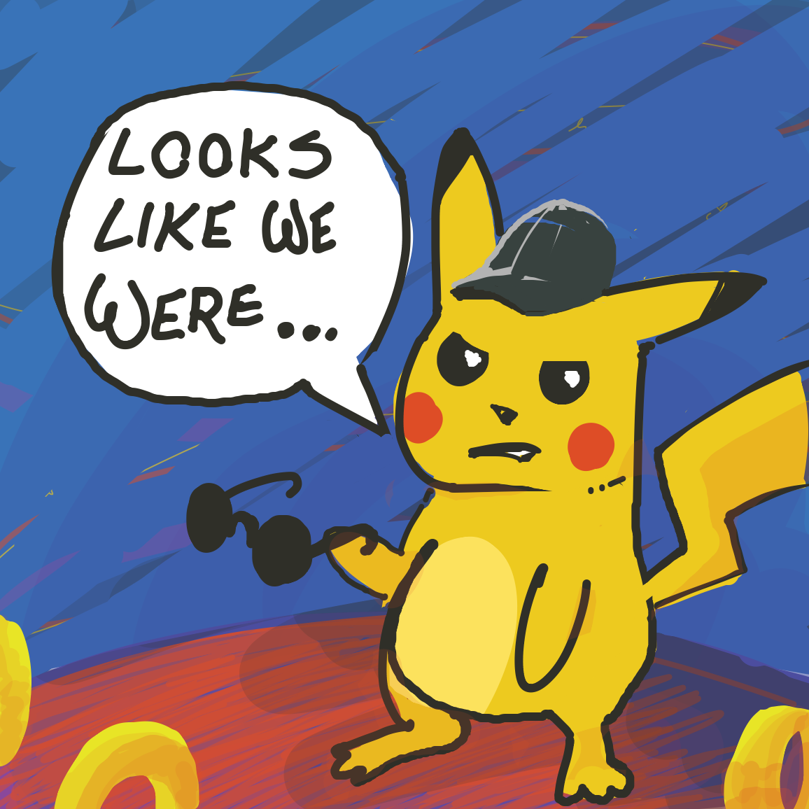 "Next panel: pika says "" ...too slow."" And puts shades on. Panel 5: CSI Miami YEEEEAAAAAAHHHHH - Online Drawing Game Comic Strip Panel by jamdaddy"