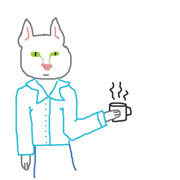 Phillipe le Chat thinks he is fancy but he is an imposter. he can't perform fundamental tasks like properly holding a coffee cup - Online Drawing Game Comic Strip Panel by spacewabbit