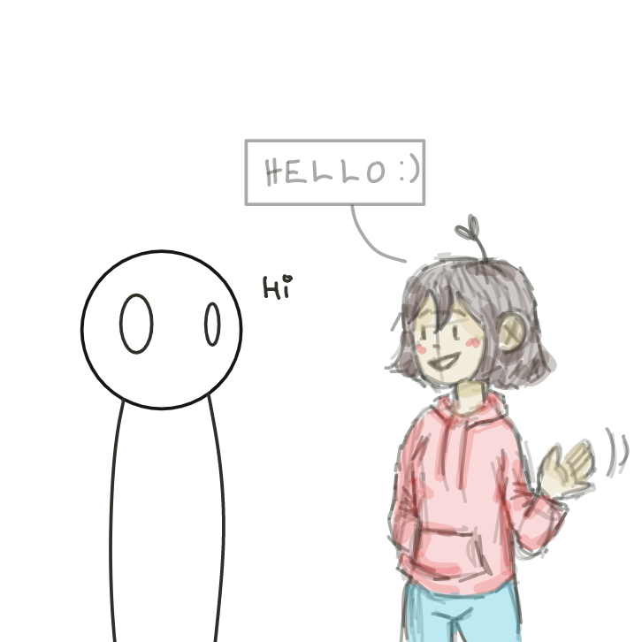 i'll be honest idk what's going on with this one, so i just said hi back lol - Online Drawing Game Comic Strip Panel by EdamameBean