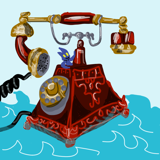 Um, sailing towards his odyssey on his giant phone-ship? - Online Drawing Game Comic Strip Panel by Yntec