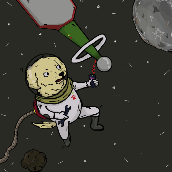 My doggo doing stuff in the space .-. - There is something wrong with the satellite. - Online Drawing Game Comic Strip Panel by MarkVinic