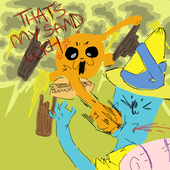 local yellow dog punches local blue man - Online Drawing Game Comic Strip Panel by RWeaper