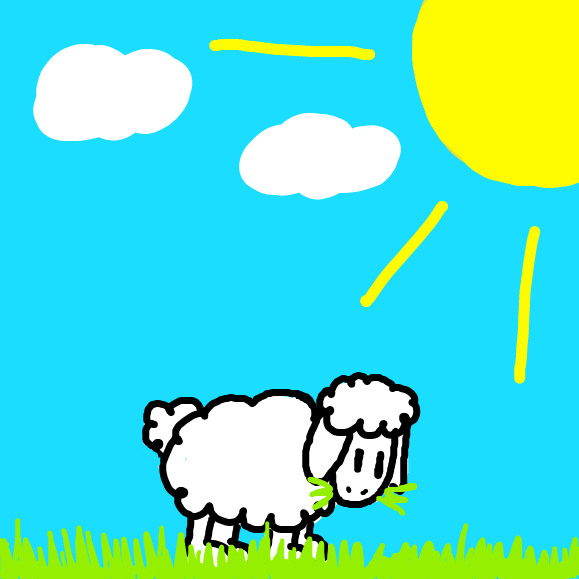 A sheep eating grass... - Online Drawing Game Comic Strip Panel by YellowSheep