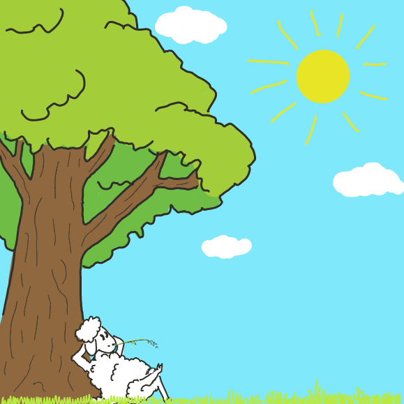 Sheep njst chillin' on this peaceful day. - Online Drawing Game Comic Strip Panel by Wizard Croissant